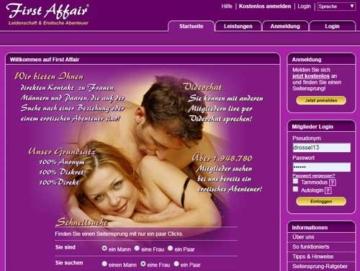 First Affair Webseite